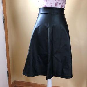 Faux Meather Skater Skirt